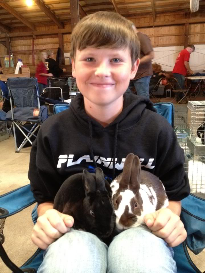 Tyler LeRoy with his Rose Arbor rabbits